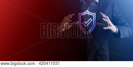 Protection Network Security Computer In The Hands Of A Businessman. Business, Technology, Cyber Secu