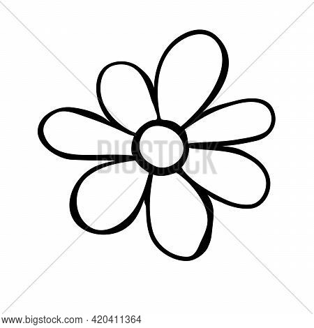 Flower Icon. Hand Drawn Simple Black Outline Vector Illustration Clip Art In Doodle Style, Isolated