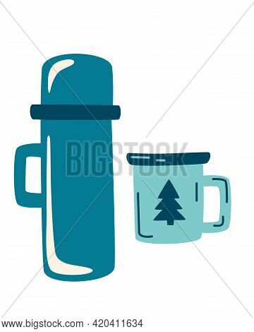 Camping Thermos And Enameled Mug. Travel Set With Thermos. Take Away Coffee Or Tea. Winter Or Campin