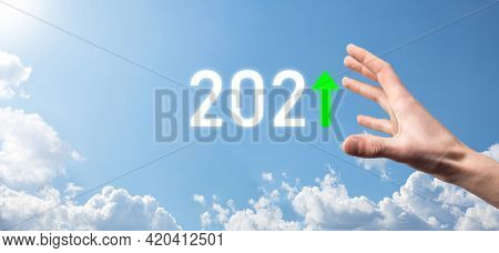 Hand Hold 2021 Positive Icon On Sky Background.plan Business Positive Growth In Year 2021 Concept. B