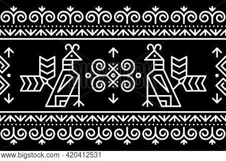 Slovak Tribal Folk Art Vector Seamless Geometric Long Horizontal Pattern With Brids Swirls, And Geom