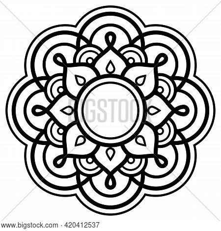 Mehndi Henna Tatoo Indian Mandala Vector Art, Geometric Design In Black And White - Yoga, Zen, Mindf