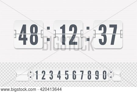 Vector Modern Ui Design Of Old Time Meter With Numbers. White Scoreboard Number Font. Retro Score Bo