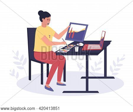 A Woman Is Taking An Online Painting Class. Passing A Creative Online Course Using A Laptop. Online