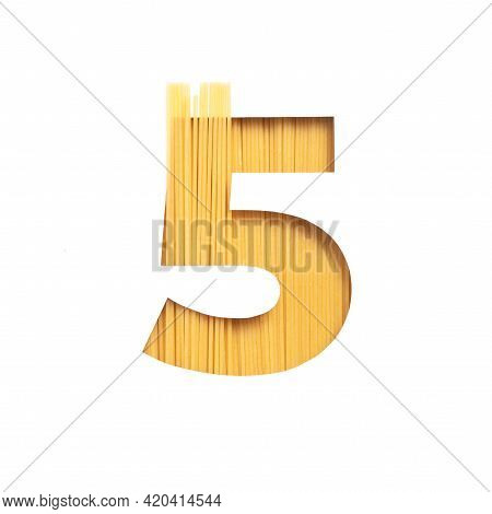 Number Five Made Of Spaghetti And White Cut Paper In Shape Of Fifth Numeral. Typeface Of Pasta. Ital