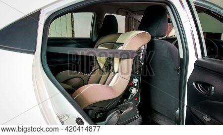 Child Safety Car Seat Installation Inside Rear Seat.