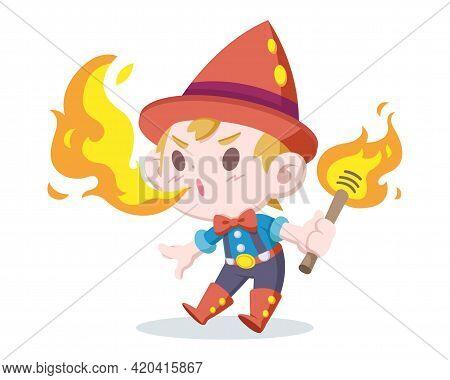 Cute Style Fire Breather Boy Cartoon Illustration
