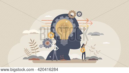 Forward Thinking Or Leader Solution For Development Ahead Tiny Person Concept. Progress Direction Wi