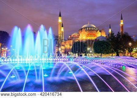 Beautiful  In Istanbul Old Town With Blue Illuminated Fountain, Sultanahmet District, Turkey