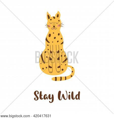 Sitting Cheetah Isolated Animal. Sitting Wild Cat. Stay Wild Naive Art Graphic Element. Cute Leopard