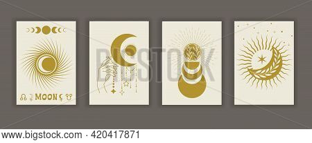 A Set Of Vector Posters Of Esoteric Magic In The Contour Style. Mystical Moon, Stars, Celestial Tali