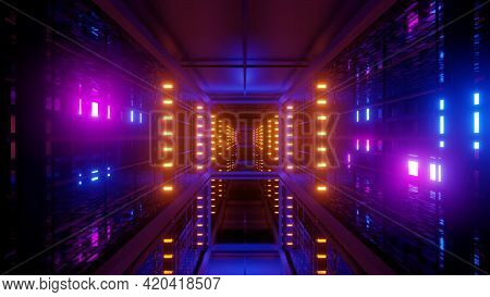 Futuristic Passage With Colorful Lamps 4k Uhd 3d Illustration