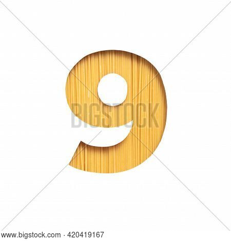 Number Nine Made Of Spaghetti And White Cut Paper In Shape Of Ninth Numeral. Typeface Of Pasta. Ital