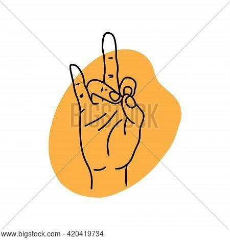 Mudra Rudra. Hands Vector Illustration. Yogic Hand Gesture.