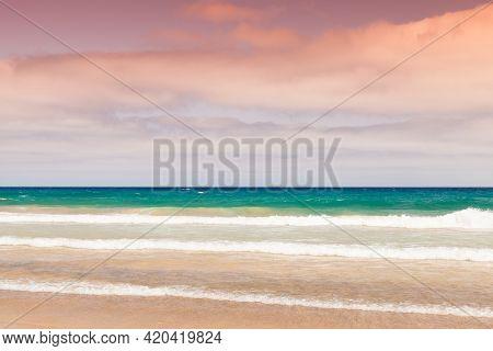 An Empty Sandy Beach, Landscape Of The Island Of Porto Santo In The Madeira Archipelago, Portugal