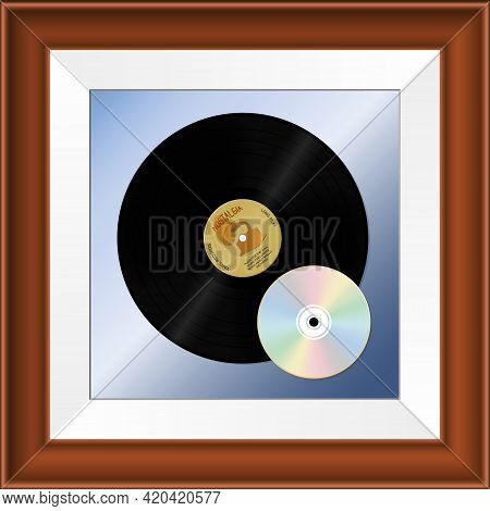 Vinyl And Cd-disk In A Frame. In Memory Of The Good Old Days. Nostalgia. Vector Illustration.