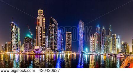 Dubai, Uae - November 13: Dubai Downtown Night Scene With City Lights, Luxury New High Tech Town In