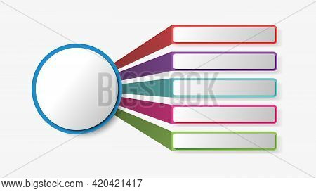 Vector Infographic Design Template. Five Components, Steps, Stages. Isolated On White Background. Ve