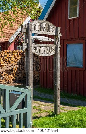 Nida, Lithuania - May 10 2021: Smoked Fish Restaurant At Curonian Spit In Nida Fishermen\'s Village,