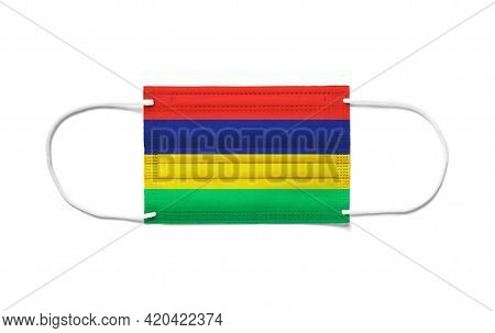 Flag Of Mauritius On A Disposable Surgical Mask. White Background Isolated