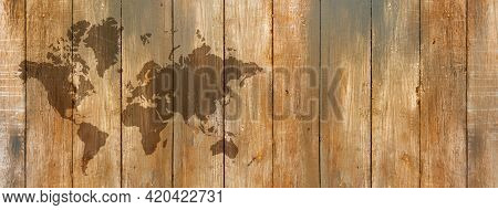World Map Isolated On Old Wooden Wall Background. Horizontal Banner