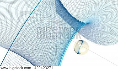 Abstract Blue Grid Surface On White Background With A Golden Sphere - 3d Rendering Illustration