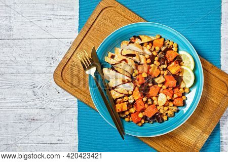 Moroccan Salad Of Roasted Vegetables: Pumpkin, Eggplant, With Chickpeas, Lemon And Baked Chicken Bre