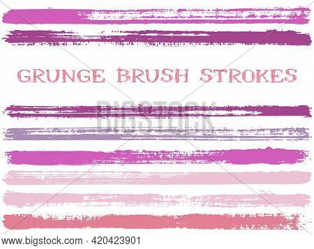 Ink Brush Strokes Isolated Design Elements. Set Of Paint Lines. Abstract Stripes, Textured Paintbrus