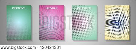 Modern Circle Faded Screen Tone Title Page Templates Vector Batch. Business Notebook Perforated Scre
