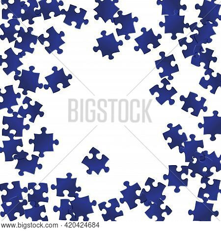 Game Conundrum Jigsaw Puzzle Dark Blue Parts Vector Illustration. Scatter Of Puzzle Pieces Isolated