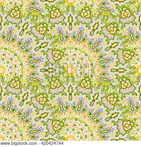 Chakra Floral Seamless Ornament. Indian Folk Vector Composition. Weave Vintage Mandala Geometric Sea