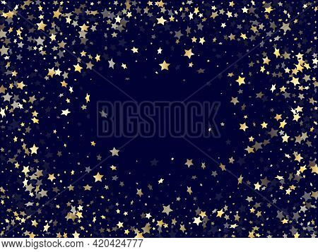 Gold Gradient Star Dust Sparkle Vector Background. Geometric Gold Star Sparkles Dust Elements On Dar
