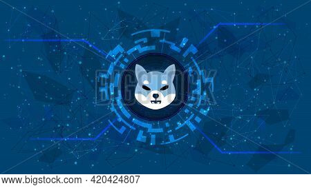 Shiba Inu Shib Token Symbol Of The Defi Project In A Digital Circle With A Cryptocurrency Theme On A