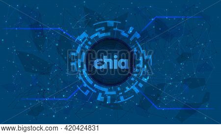 Chia Network Xch Token Symbol Of The Defi Project In A Digital Circle With A Cryptocurrency Theme On