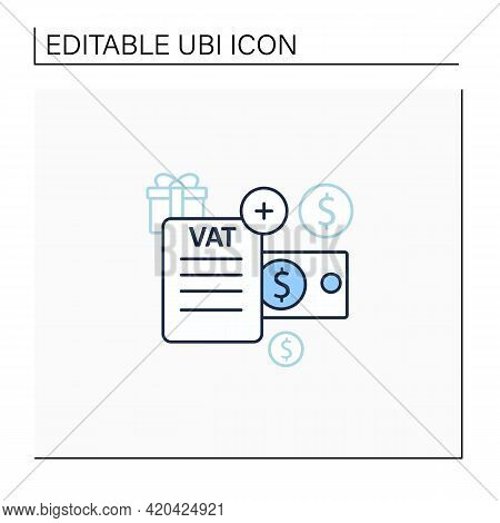 Value Added Tax Line Icon.indirect Tax, Goods Price. Paid By Buyer. Universal Basic Income Concept.