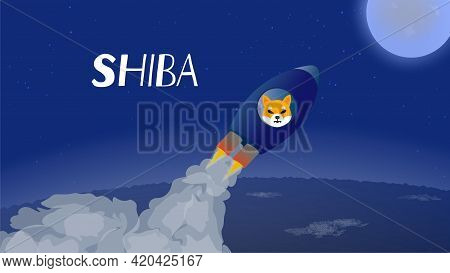 Shiba Flies To The Moon In Spaceship. Rocket With A Dog's Muzzle Takes Off From The Ground And Rushe