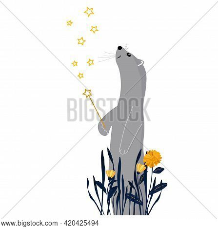 Sable With A Magic Wand Vector Stock Illustration. Pet Weasel In Flowers. A Fabulous Ferret.children