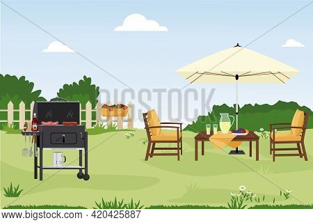 Patio Area Flat Vector Illustration. House Backyard With Green Grass Lawn, Trees And Bushes. Cartoon