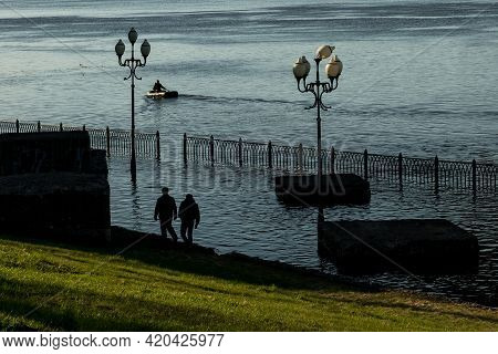 Rybinsk, Russia - May 7 2021: Overflow Of The Volga River
