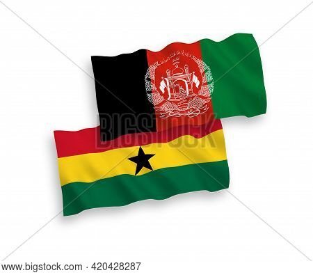National Fabric Wave Flags Of Islamic Republic Of Afghanistan And Ghana Isolated On White Background