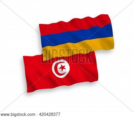 National Fabric Wave Flags Of Republic Of Tunisia And Armenia Isolated On White Background. 1 To 2 P
