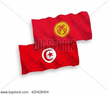 National Fabric Wave Flags Of Republic Of Tunisia And Kyrgyzstan Isolated On White Background. 1 To