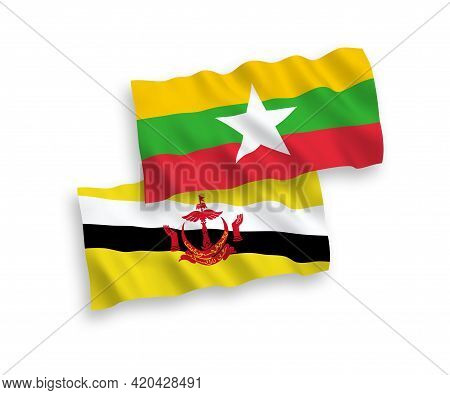 National Fabric Wave Flags Of Brunei And Myanmar Isolated On White Background. 1 To 2 Proportion.