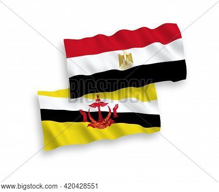 National Fabric Wave Flags Of Brunei And Egypt Isolated On White Background. 1 To 2 Proportion.