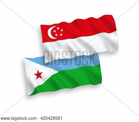 National Fabric Wave Flags Of Republic Of Djibouti And Singapore Isolated On White Background. 1 To