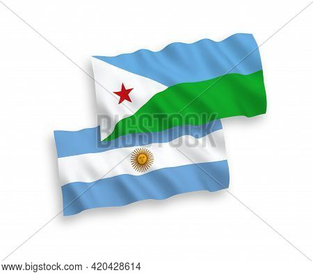 National Fabric Wave Flags Of Republic Of Djibouti And Argentina Isolated On White Background. 1 To