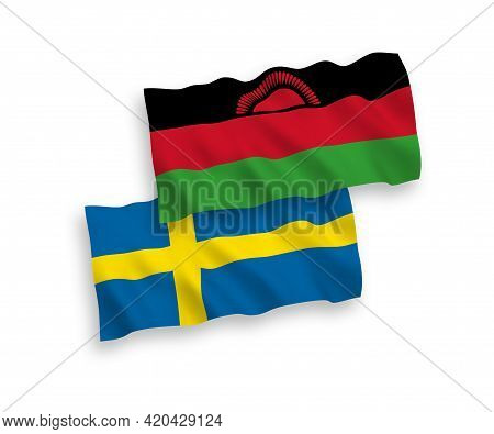 National Fabric Wave Flags Of Sweden And Malawi Isolated On White Background. 1 To 2 Proportion.