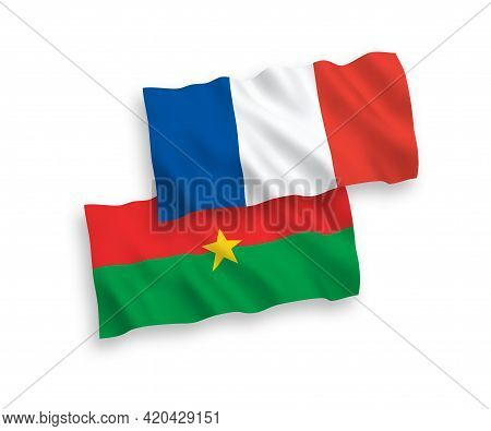 National Fabric Wave Flags Of France And Burkina Faso Isolated On White Background. 1 To 2 Proportio