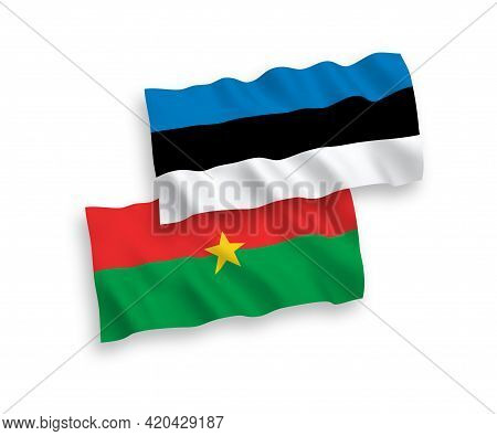 National Fabric Wave Flags Of Estonia And Burkina Faso Isolated On White Background. 1 To 2 Proporti