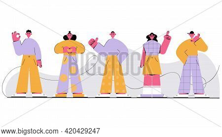 Vector Illustration Isolated On A White Background. Standing People Showing Emotions With Gestures.